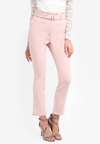 Lipsy pink Blush Paperbag Trousers F7941AAADFFD52GS_1