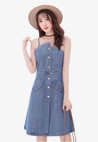 Lara blue Women's Denim Sling Mini Dresses 2FF9CAA416DC8CGS_1