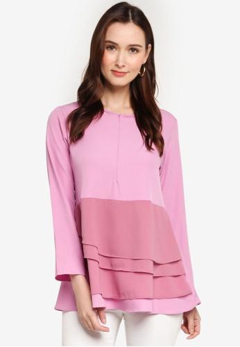 Aqeela Muslimah Wear pink Layered Top 6FE07AAE2CFDCEGS_1