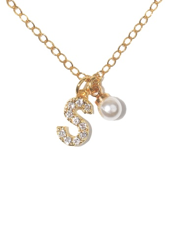 PSYNDROME gold Personalised Initial Diamond Letter Alphabet with Pearl Necklace - S 416BCAC5A225E2GS_1