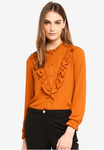 OVS brown Shirt With Mandarin Collar And Flounce 126C9AAAF44997GS_1