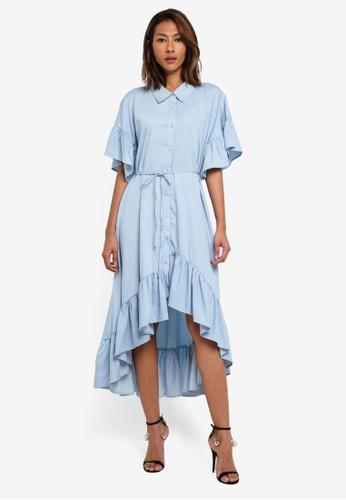 INDIKAH blue Ruffle Chambray Dress With Waist Tie DEEFAAA9F3A3F9GS_1