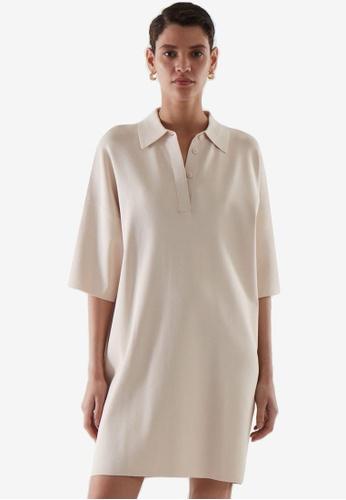 COS beige Oversized Polo Dress 428A7AA31BF828GS_1