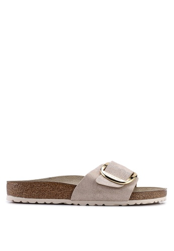 60309a3183f Birkenstock beige Madrid Big Buckle Washed Metallic Sandals  3C121SH2B8BC4BGS 1