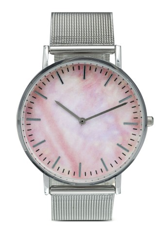 NUVEAU silver Round Face Shell Effect Mesh Strap Watch 3AE0EAC94E8399GS_1