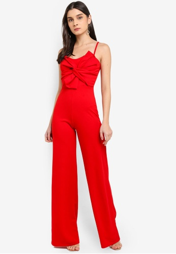 MISSGUIDED red Bow Detail Jumpsuit 1C811AAA25615AGS_1
