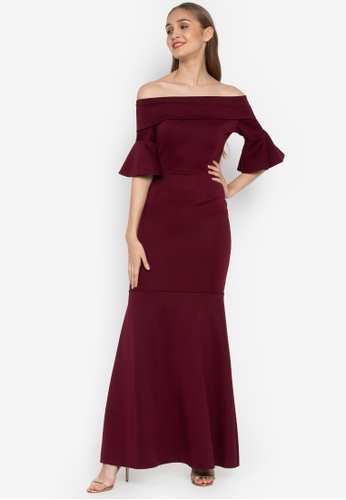 Shop Hug Plus Size Long Dress Off The Shoulder Bell Sleeves Online ...
