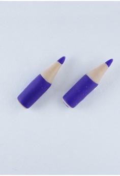 Kawaii Cute Purple Colored Pencil Stud Earrings