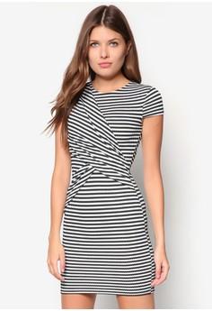 Stripe Ruched Wrap Bodycon Dress