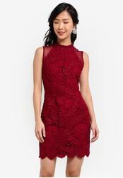 ZALORA red Crochet Lace Mesh Sheath Dress 93598AA4E29D18GS_1