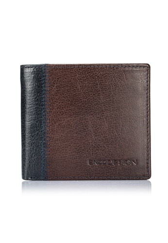 ENZODESIGN brown and multi and navy Fine Buffalo Leather Slim Bifold With 14 Card slots and Flipover I.D. Windows EN357AC0FEFZSG_1