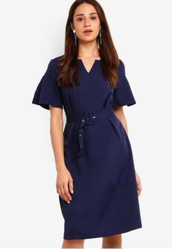 ZALORA navy Flare Sleeves Fit And Flare Dress 64CAEAA050B456GS_1