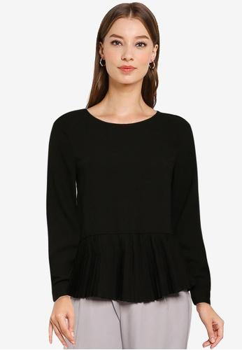 ZALORA WORK black Pleated Hem Long Sleeve Top 585C3AA7263218GS_1