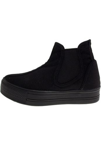 Maxstar 黑色 新款韩国鞋C30-SideSpan時尚帆布布混合女黑色 US Women Size MA345SH20HDZTW_1