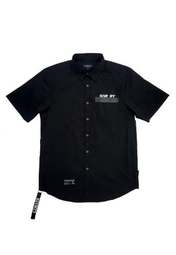 L.I.M.I.T.E 黑色 刺繡印花配拉鍊恤衫 1889BAA49D44FAGS_1