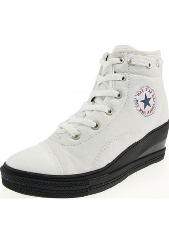 Maxstar 白色 新款韩国鞋7H-Zip-020時尚帆布布混合女白色 US Women Size MA345SH15HEETW_1