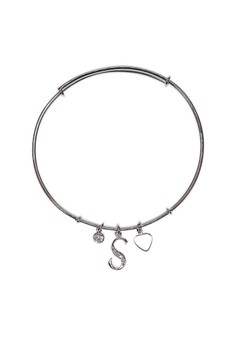 Initial Silver Bangle - S