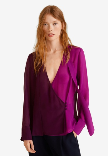 Mango purple Two-Tone Flowy Blouse B9F7FAABABC713GS_1