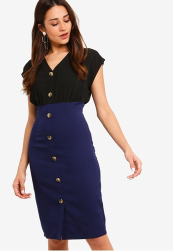 ZALORA black and multi Button Detail Sheath Dress 6A907AA27698CCGS_1