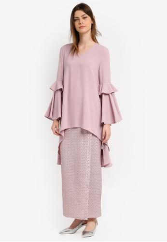 Zalia pink Dip Hem Flare Sleeve Tunic with Lace Skirt A6910AA50EC468GS_1