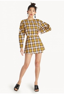 24307e17b9c1 Wide Back Tartan Romper- Yellow C5843AA3AE974BGS 1