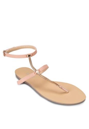 Mavis 金飾繞踝夾腳涼鞋, 女鞋,zalora鞋 涼鞋