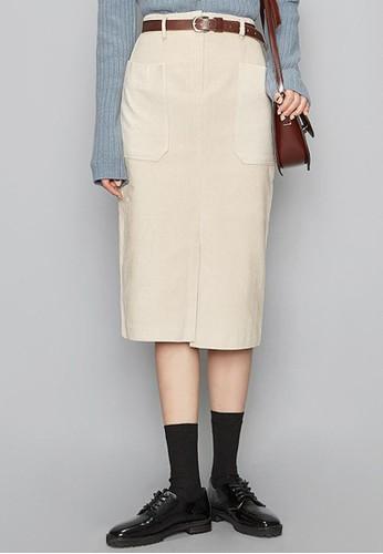 外側口袋燈芯esprit女裝絨中裙, 服飾, 及膝裙