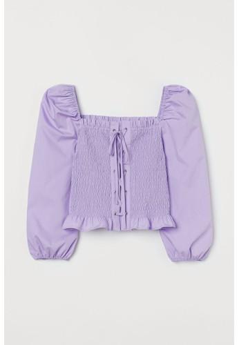 H&M purple Smocked blouse B618CAAF7130D9GS_1