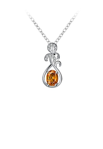 Glamorousky gold Fashion Elegant Pattern Pendant with Champagne Cubic Zircon and Necklace 5FB3DAC19B1BA0GS_1
