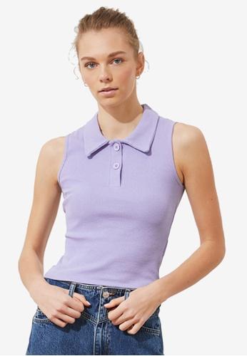 Trendyol purple Basic Sleeveless Polo Top 1FC33AA26DB1B6GS_1