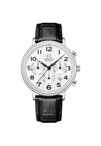 Solvil et Titus black Vintage Women's Automatic Watch in Silver White Dial and Black Leather Strap 4062FACDC4C369GS_1