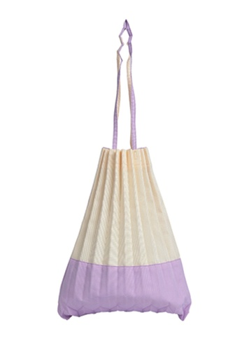 The Catalyst Store purple and beige Japanese Pleated Colour Blocking Purple Canvas Shoulder Bag 04684ACBD02A0BGS_1