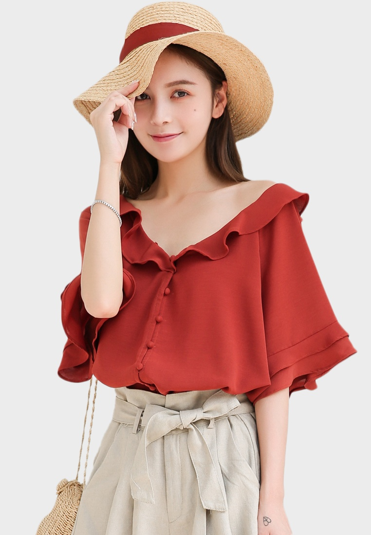 in Collar Red Red Shopsfashion Ruffles Blouse 1Rwq5R67n