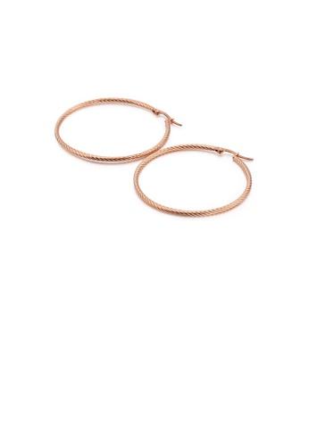 Glamorousky 銀色 簡約時尚鍍玫瑰金50mm幾何圓圈316L鋼耳環 3F607AC6AE7D93GS_1
