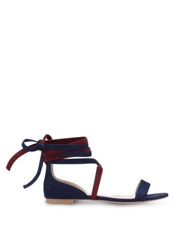 ZALORA navy Contrast Lace-up Sandals E2FEASH131259DGS_1