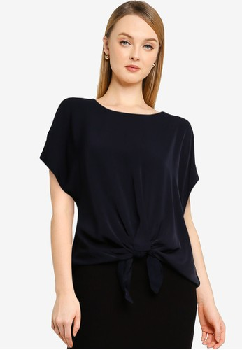 Forever New navy Tiana Tie Front Essential Tee 3FBE5AA0978B10GS_1