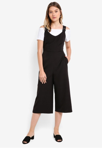 Something Borrowed black Hardwear Detail Culotte Jumpsuit B8BA5AAFDA5799GS_1