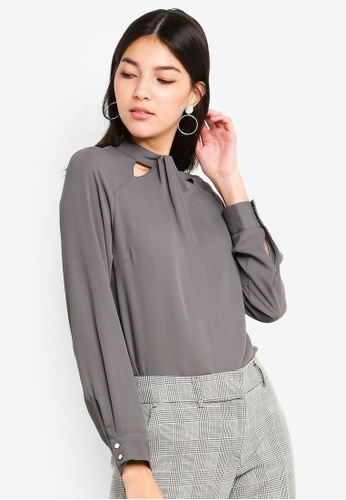 a9d3fd8d71c8 Shop Dorothy Perkins Charcoal Emily Long Sleeve Top Online on ZALORA  Philippines