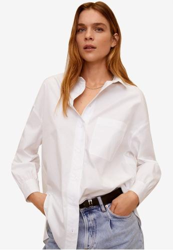 Mango white Oversize Flowy Shirt 77592AACF30E17GS_1
