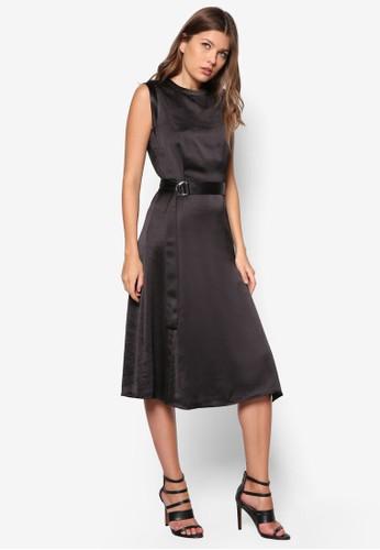 D 扣環腰帶緞面連衣裙, 服飾,zalora鞋子評價 洋裝