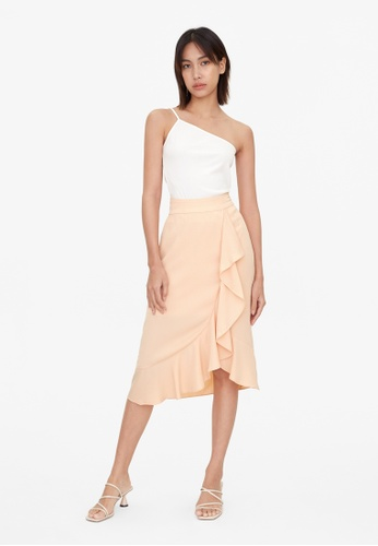 Pomelo pink Ruffle Draped Flare Skirt - Pink 5CD3AAA3781325GS_1