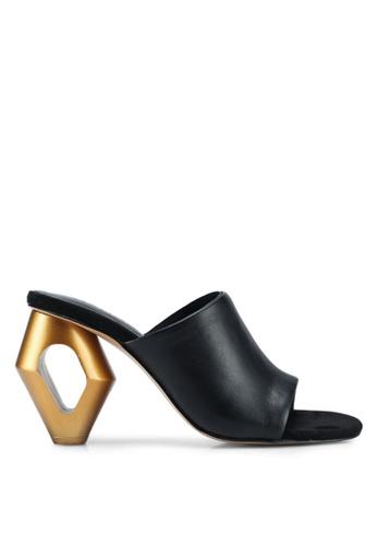 Mango black Metal Heel Leather Mules 436BCSH752844EGS_1
