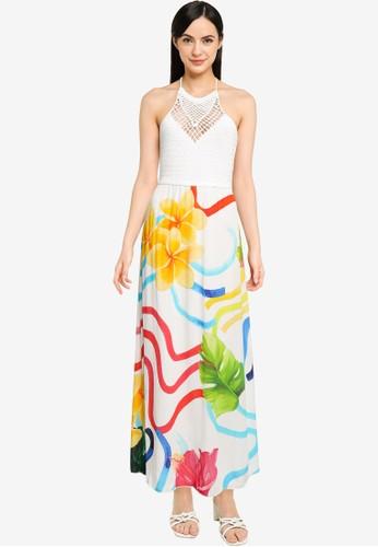 Desigual white Long Flowers Dress 4E634AA0BAC970GS_1