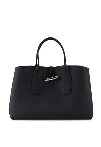 LONGCHAMP black Roseau Top Handle Bag L (nt) 197FDAC550E160GS_1