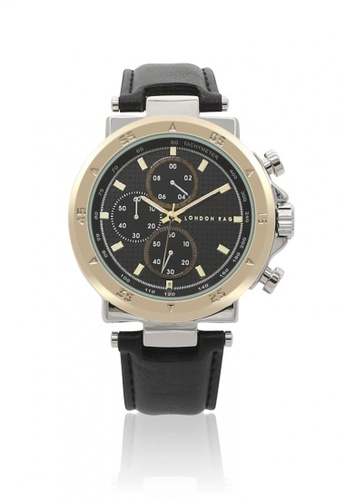 London Rag black Men's Analogue Watch For Men With PU Leather Strap 76E99AC4393402GS_1