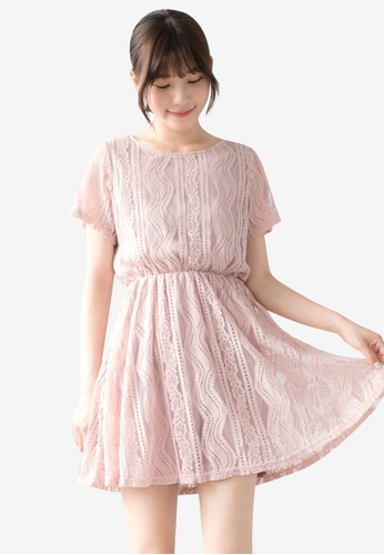 Tokichoi pink Striped lace Dress 6D1E7AA7EF4876GS_1