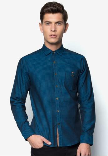 格紋修身長袖襯衫, esprit outlet 台中服飾, 服飾