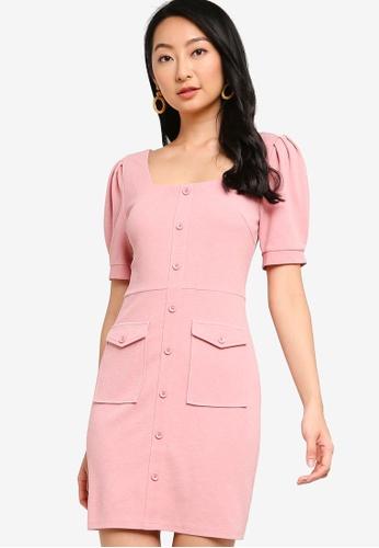 ZALORA BASICS pink Puff Sleeve Dress With Buttons C6CE1AA232682CGS_1