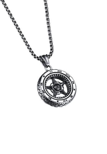 ADORA silver Stainless Steel Wheel Pendent Necklace E2C68ACA7624A1GS_1