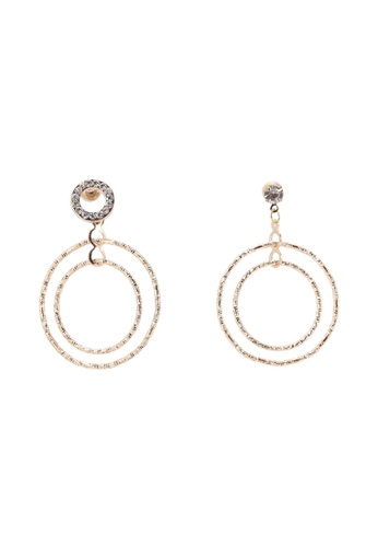 Saturation gold Double Circle Drop Earrings SA407AC0S3RKMY_1